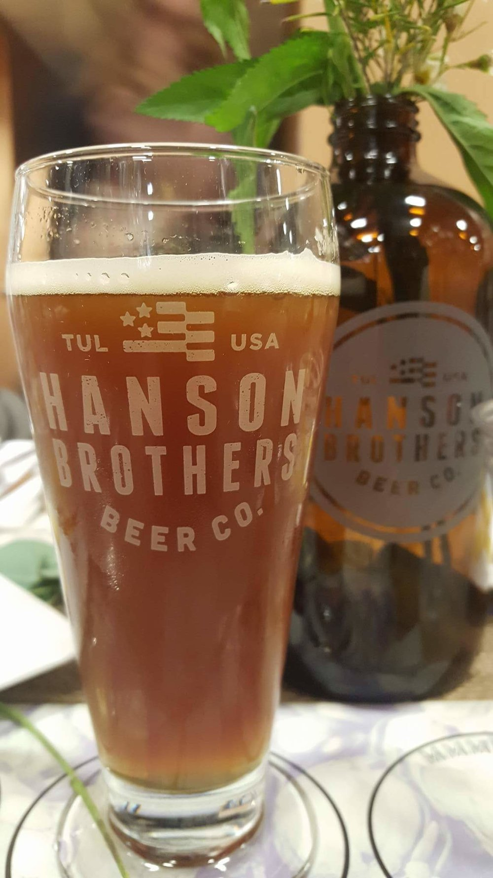 - One of the 4 Hanson Brothers Beer Co. beers paired with the evening's meal.The Hanson Brothers' beers are brewed at the Dead Armadillo Brewery in the East Village of Downtown Tulsa.