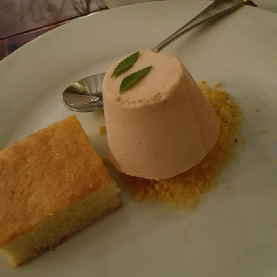 - Lermon verbena cake with honeycomb candy and strawberry semifreddo. Just sweet enough for the end of the meal, but not too sweet for a girl who eats cheese for dessert!