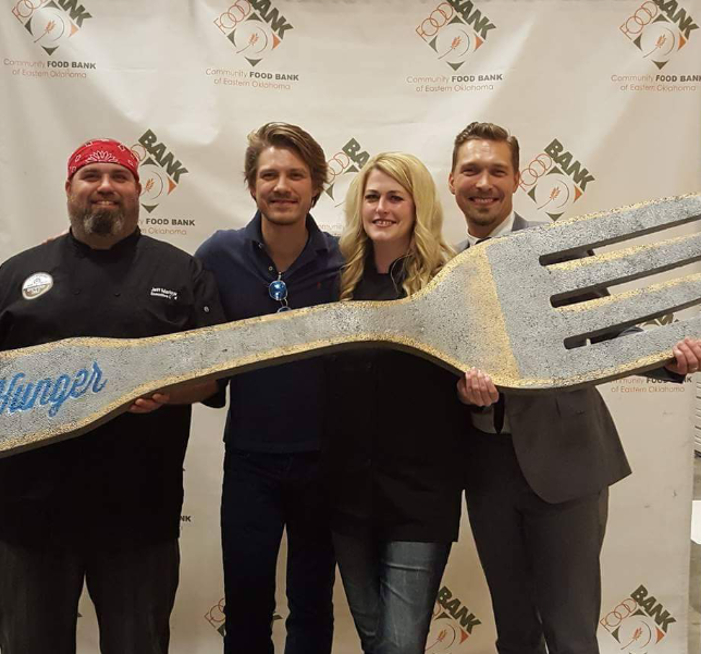 Ececutive chef Jeff Marlow, of the Community Food Bank of Oklahoma, Taylor Hanson, The Cheese Wench, and Isaac Hanson.