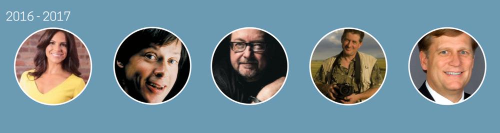 2016-2017  Soledad O'Brien, Dave Barry, Luis Alberto Urrea, Joel Sartore, Michael McFaul