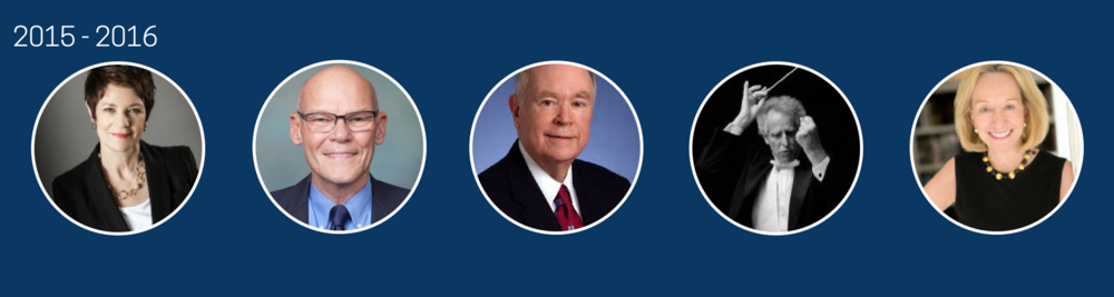 2015-2016  Sue Monk Kidd, James Carville, David L. Boren, Benjamin Zander, Doris Kearns Goodwin