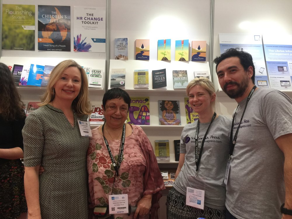 Me, Consuelo Rivera-Fuentes, founder and director of Victorina Press, Sophie and Jorge.