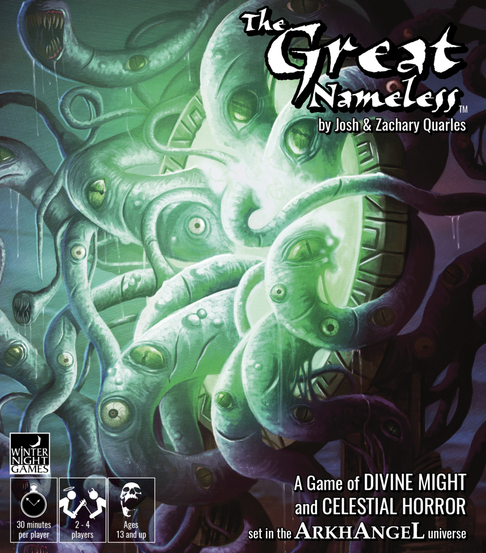 The Great Nameless - Protect your worshippers.Unleash divine wrath.Try to survive.Take on the role of a god.  Build armies to defend your Realm. Work with allied players to shore up your defenses against the forces of The Great Nameless, or attack your foes to weaken them before Its onslaught.Choose one of four unique Realms and assume the identity of its ruler.  Each Realm features a different playstyle, as well as its own unique deck of cards.  Seal your Realm against the might of the Great Nameless, the Avatar of Z'xhuul.  Destroy the forces that oppose you to gain the most Victory Points before the forces of Primo Regni invade your home!