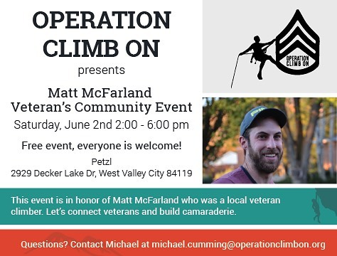 This event is just a few weeks away 😃 so mark your calendars!  If you live near SLC - join us and invite others (especially military & families) for this awesome, FREE event! #liverad #operationclimbon #veteransuicideawareness #suicideawareness #climb #climbing #makeadifference #giveback #serve @themattmcfarland