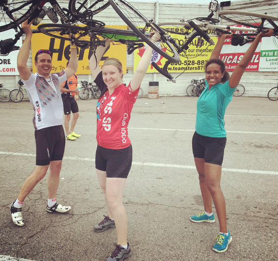 victorious cyclists at the finish line (image via Instagram, including mandatory filter)