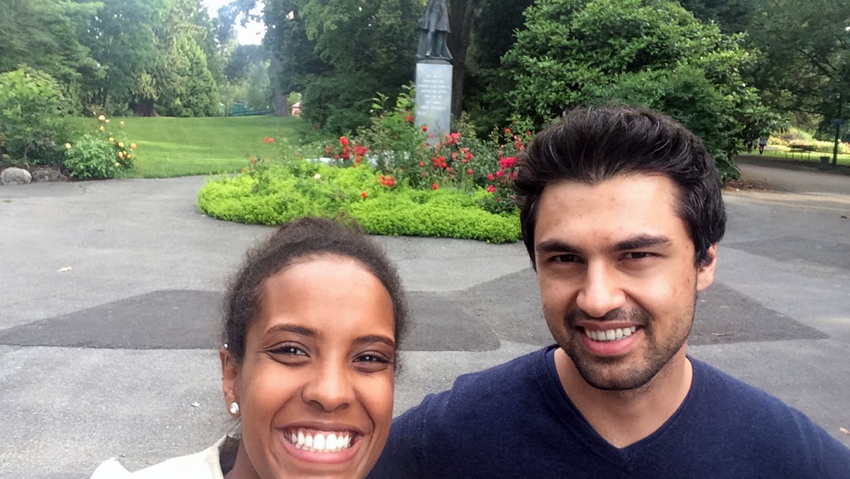 Yodit and Rajiv in Vancouver. You can tell by how green it is.