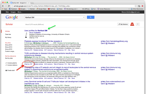 """Fig 2: A somewhat self-serving example of how to look up citations on Google Scholar: Search for a paper (by author name for example) and click on the """"cited by"""" link underneath the paper (red arrow). Alternatively, you can look at papers from a given investigator by clicking on their profile (green arrow, top of page)."""