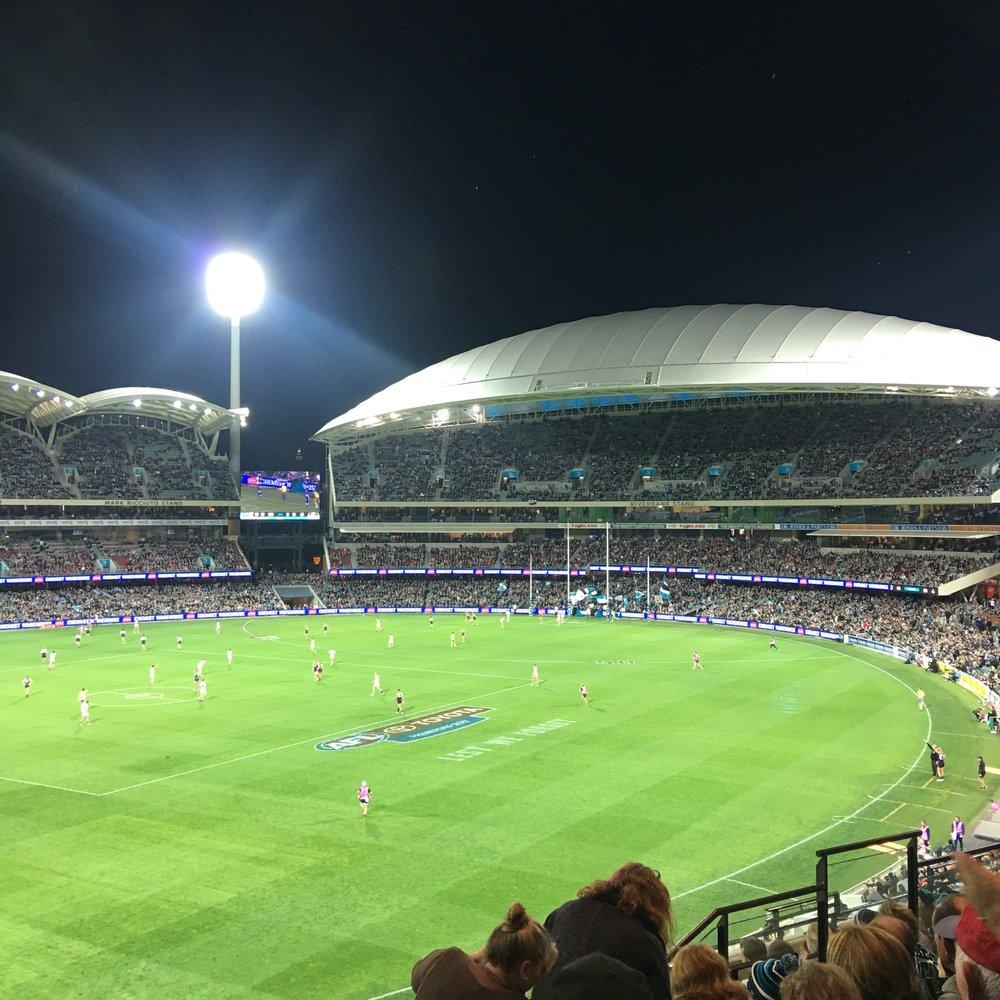 Australian rules football. Port Adelaide vs. Carlton (we won!!) @ Adelaide Oval, SA, Aus.