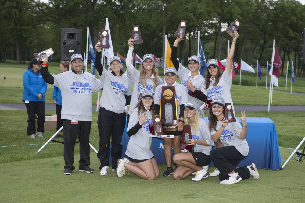 Arizona State won the NCAA title May 24 at Rich Harvest Farms in Sugar Grove, Ill. The Sun Devils were first-time match-play winners, but it was the eighth national title in program history. Photo credit: Arizona State Athletics