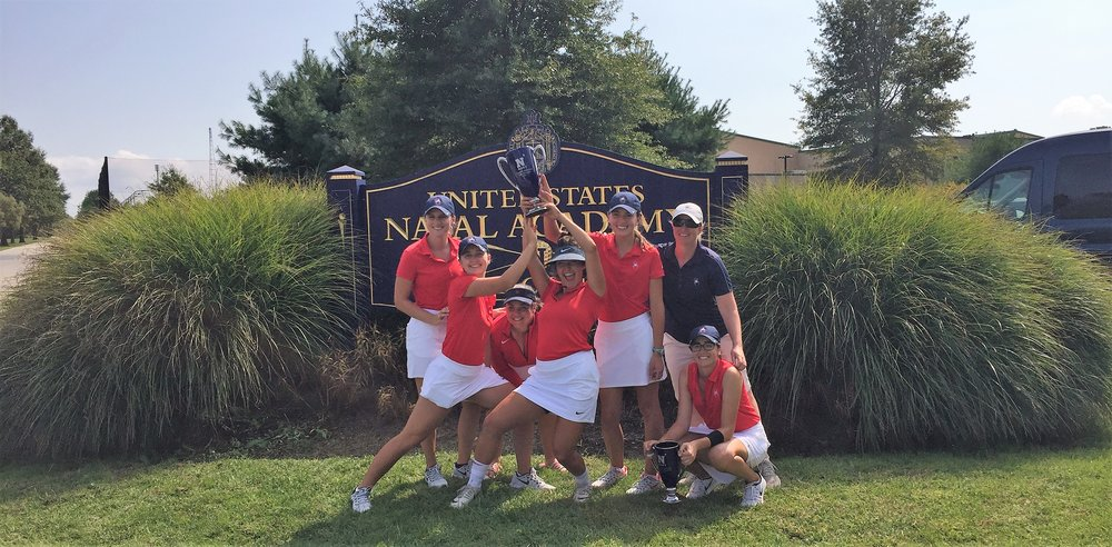The Richmond women had a lot of reason to celebrate this fall -- by mid-October, they were the last undefeated team in women's college golf. Photo courtesy Richmond Athletics