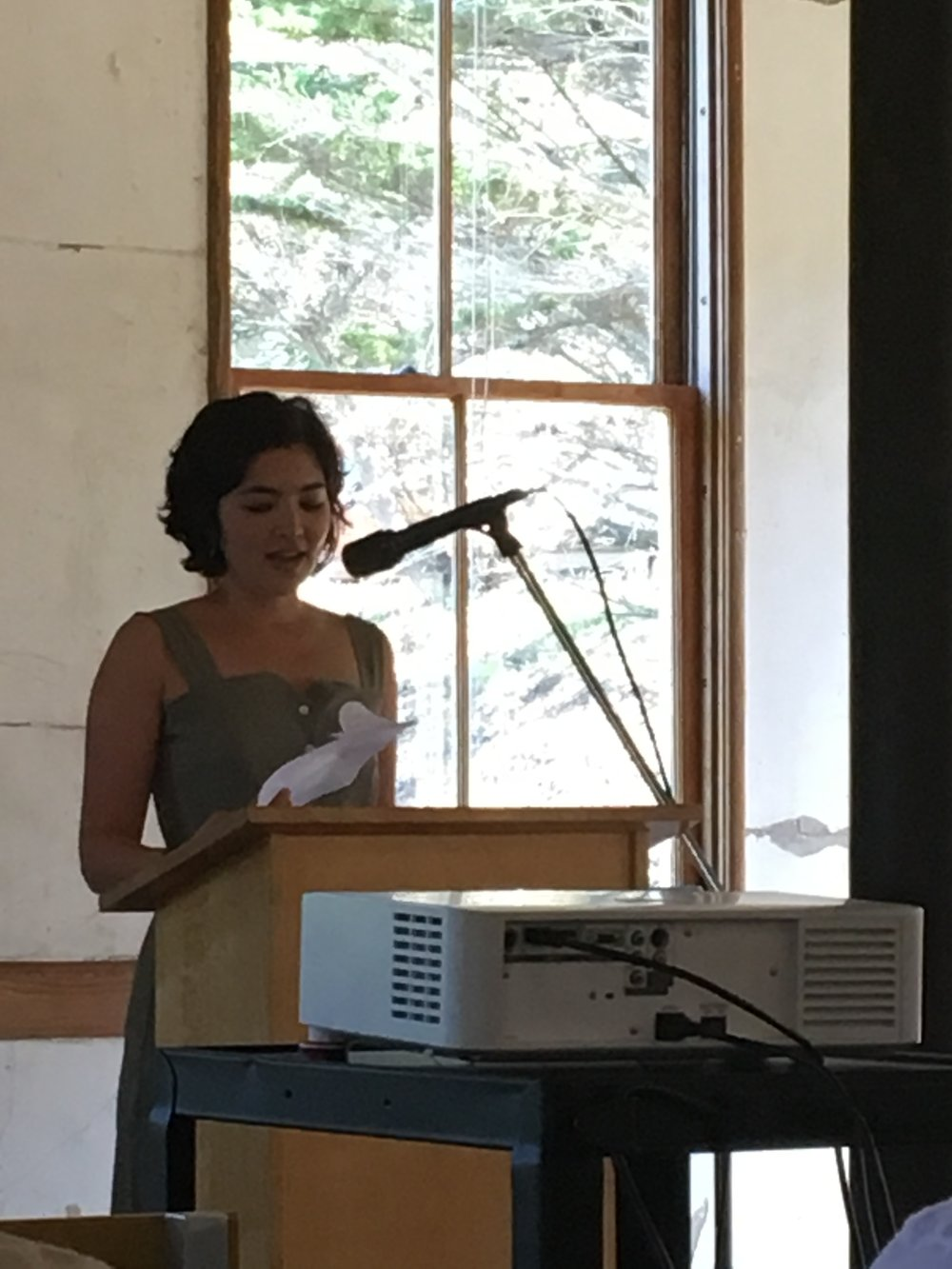 Reading from her novel at the open house for Headlands Center for the Arts in Marin.