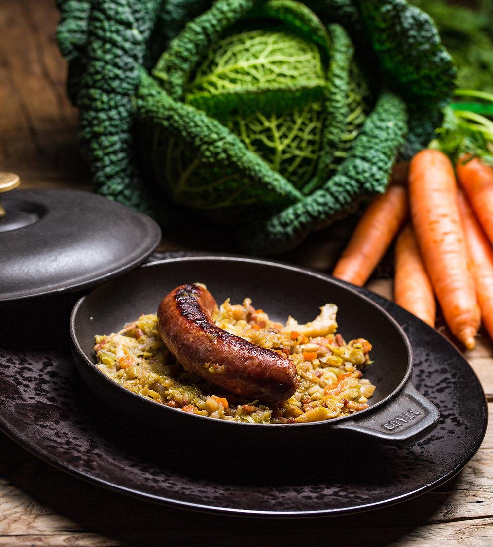 Saucisse au choux facon marmite Sarthoise - Photographe culinaire