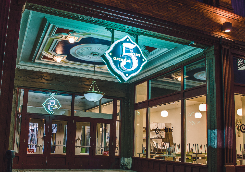 5TH ST. ARCADES - Housed in the former Euclid Arcade, this historical shopping venue opened in 1911 and was one of the first shopping arcades in the country.  This architectural gem offers a bright, pleasant visitor experience, with its white marble floors, white terra cotta walls, and vaulted ceiling with white barrel skylights.