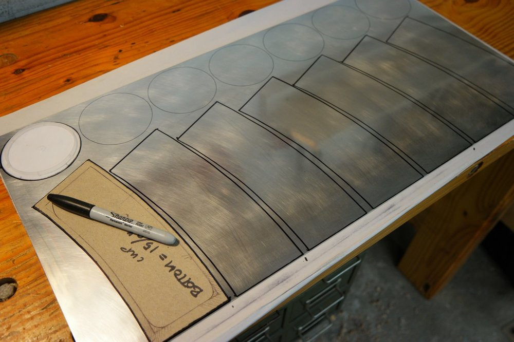 "The parts are laid out on a 12"" x 24"" x .051"" pewter sheet."