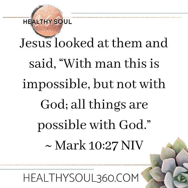 "Jesus looked at them and said, ""With man this is impossible, but not with God; all things are possible with God."" ~ Mark 10:27 NIV  When I created @healthysoul360 back in 2014, I knew it was going to be something bigger than I could've ever imagined.  Over the years, God has helped me grow as an individual and has guided Healthy Soul 360 in evolving into a movement, into a rapidly growing and loving community, into a purposeful expanding team, and it's truly becoming something greater than I could ever imagine, let alone do on my own!  It first started as just healthy living to now holistic wellness, steadfast faith, gentle movement and now incorporating sustainability, budget friendly tips, living toxic-free, having healthy pets, and raising healthy kids.  And it wouldn't be where it is now without God's steadfast love and guidance as well as even Carlton supporting this crazy adventure and sometimes my crazy, impossible ideas!! I'm so excited for what's to come because it's up and up only!  PS, get your bootayy over to @healthysoul360 and give a follow to hear some new voices because there's now 30+ new writers contributing for the Healthy Soul 360 Blog!! . . . #healthysoul360 #riseup #givemejesus #wholefulsoulsisters #faith #fitness #food #lifecoach #holisticcoach #spiritualmentor #christiancoach #bossbabe #bosslady #bebold #betterthanever #upandup #faithoverfear #ladyboss #femaleentrepreneur #community #communitybuilder #sisterhood #daughterofgod #sistersinchrist #mindbodysoul #journey #movement #trustgod  #newyork #hudsonvalley"