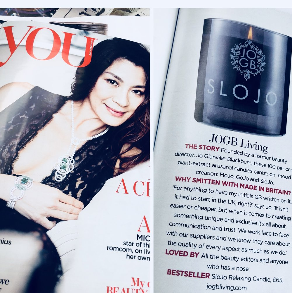 YOU Magazine feature JOGBLiving Slojo Relaxing Candle