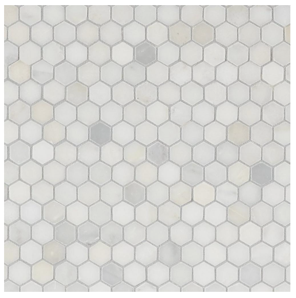 Shower Floor Tile   Carrara White Hexagon Marble Mosaic   Accent the look of your home with this 12in. x 12in. honed Carrara White Hexagon Marble Mosaic. The ivory color gives a nice touch to any room. This hexagon-shaped marble creates an eye-catching design with stunning colors that come from the wonders of the earth, marble decoratives make a gorgeous fashion statement throughout your home.