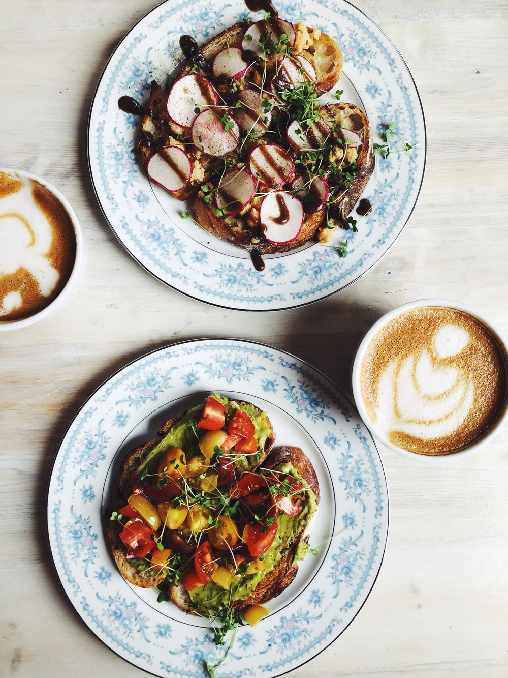 CHICKPEA TOAST | AVOCADO TOAST | ALMOND MILK MINT LATTES - FIDDLEHEAD FERN