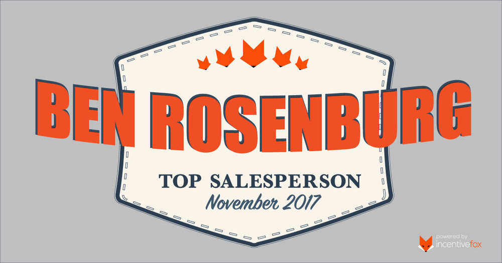 CONGRATS BEN! - Congratulations to Ben, our November 2018 Top Sales Rep. Ben sold 8 additional vehicles through referrals last month!