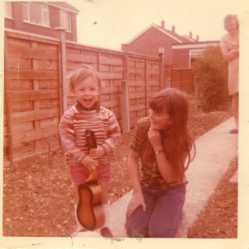 Age 2, 1973, doing my best Angus Young impression
