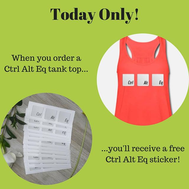 Today only! When you order a Ctrl Alt Eq tank top, you'll receive a FREE Ctrl Alt Eq sticker with your order! No coupon necessary. Click the link in our bio to get yours today! #stall17summer  #stall17 #stall17equine #ctrlalteq #ROOTD #horses #riding #equestrian #equestrianlife #horsemomlife #horselove #ridinglesson #giftwithpurchase #dressage #showjumping #threedayeventing #3days3ways #horselove #smallbusiness #shopsmall #communityovercompetition