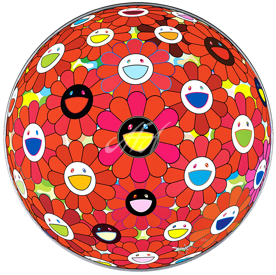 Takashi Murakami - Flower Ball (3d) Red Ball watermark.png