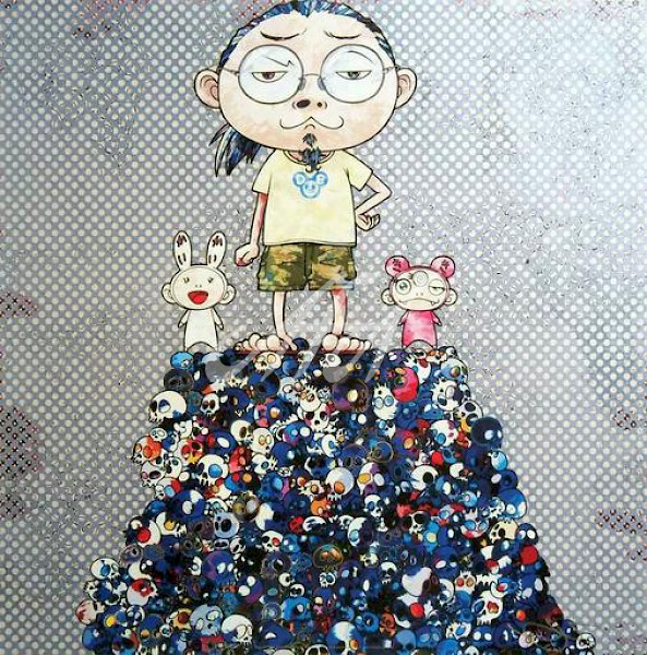Takashi Murakami - Kaikai, Kiki, and Me, on the blue mound of the dead watermark.jpg