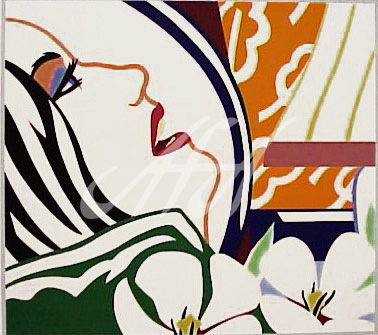 Tom Wesselmann - Bedroom Face with Orange Wallpaper watermark.jpg