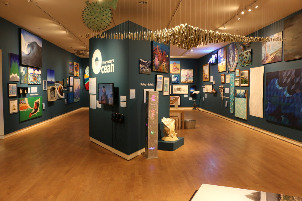 Everybody's Ocean  at the Santa Cruz Museum of Art and HIstory, a mega-democratic group exhibition adopting the salon style for a sense of inundation.
