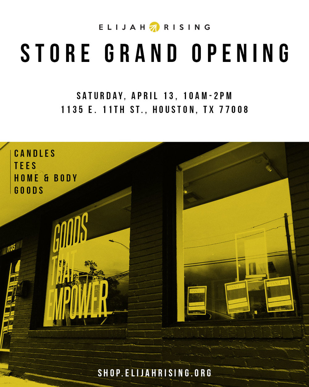 SAVE THE DATE! - We invite you to celebrate the Grand Opening of our new storefront in the Heights! Bring a friend and come shop all of our new goods!