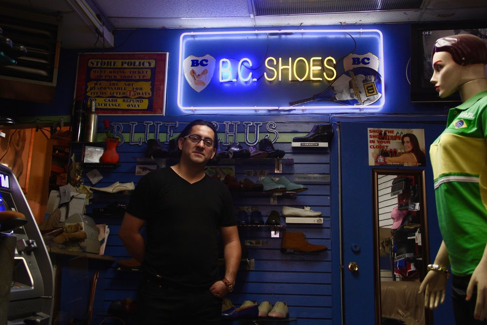 Christian Ramos has owned and operated his shoe repair shop, Blue Chu's on East Kingsbridge Road for 12 years.