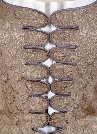 2. Figured silk jumps with metal closures, French, mid-18th C. Cora Ginsberg.