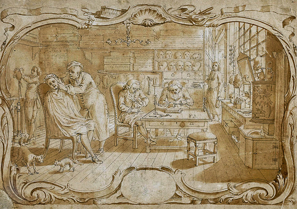 Louis-Philippe Boitard (French, active 1733-1767), At the wigmakers