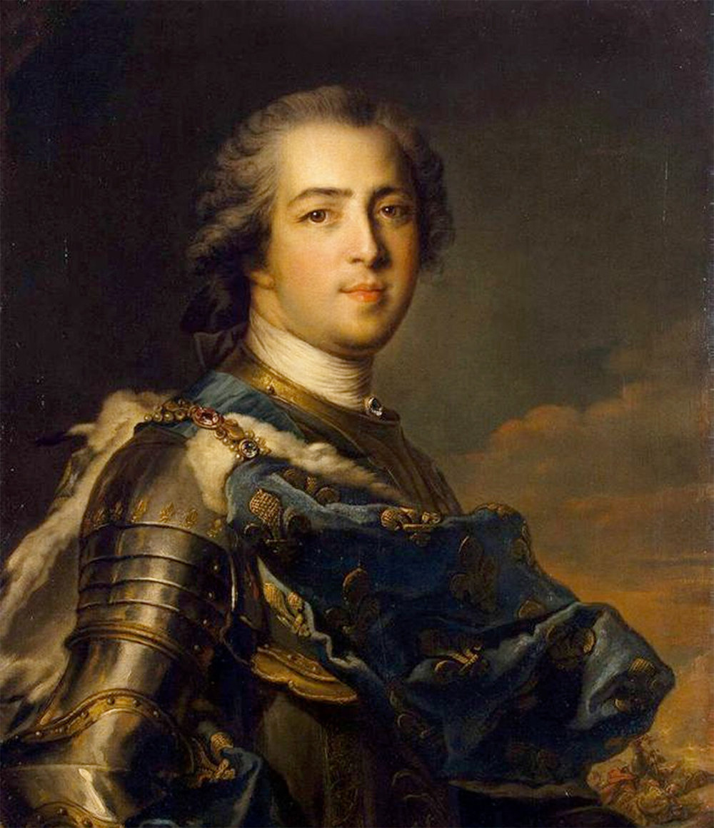 Louis xv by Jean-Marc Nattier wearing a more natural looking wig than his predecessor Louis XIV
