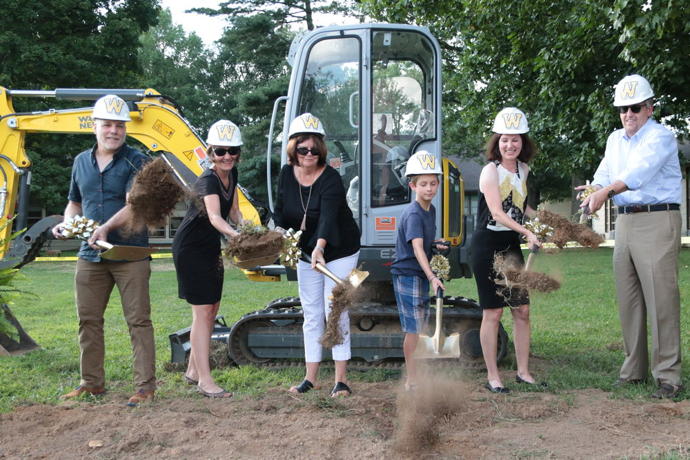 first Groundbreaking ceremony - July 27, 2018 - guests were invited to the first groundbreaking ceremony for the Library Media Center and Music Hall. With the architectural layout in place, several donors, faculty, alumnus and even a young student (sporting hardhats and wielding golden shovels) were the first to break ground for the momentous occasion. Construction for Campus 2025 has begun!