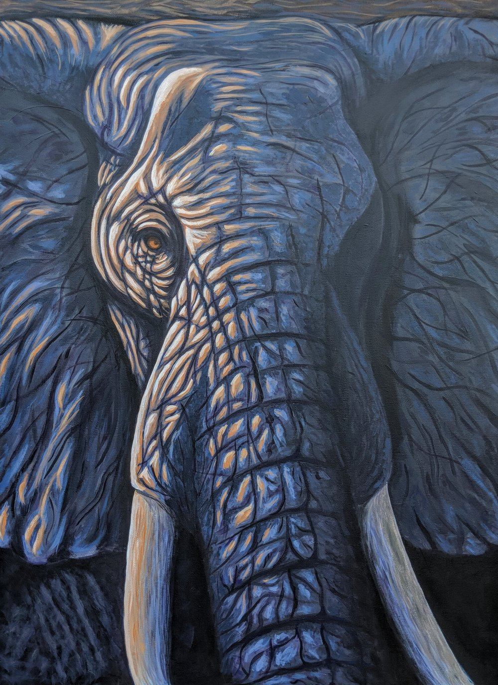 "Loxodonta africana  African Elephant Acrylic on 30""x40"" canvas"