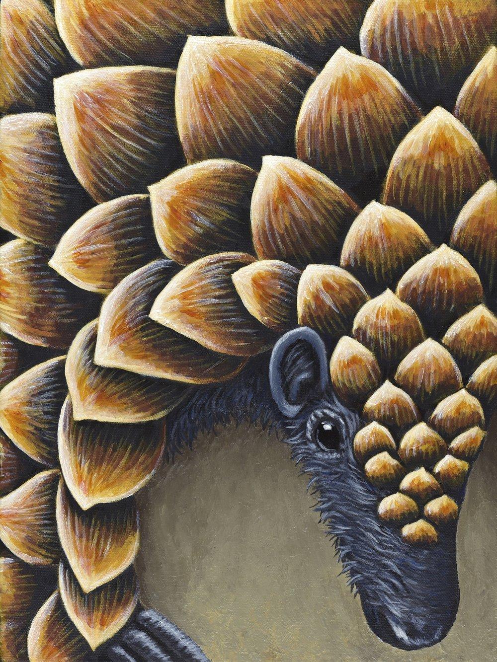 "Phataginus tetradactyla  Black-bellied Pangolin Acrylic on 12""x16"" canvas   Prints available"