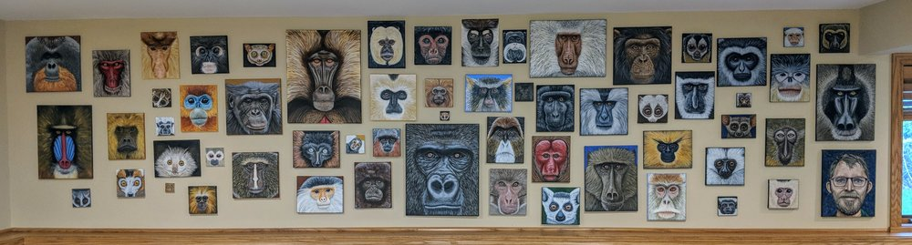 """Complete series, 60 pieces. Acrylic paint on canvases ranging from 2""""x2"""" to 16""""x20"""". Canvases are hung in order of completion, going by the left margins."""