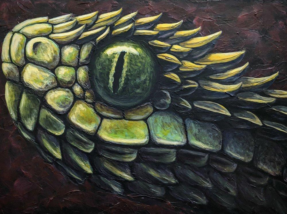 "Atheris hispida  Spiny Bush Viper Acrylic on 24""x18"" canvas"