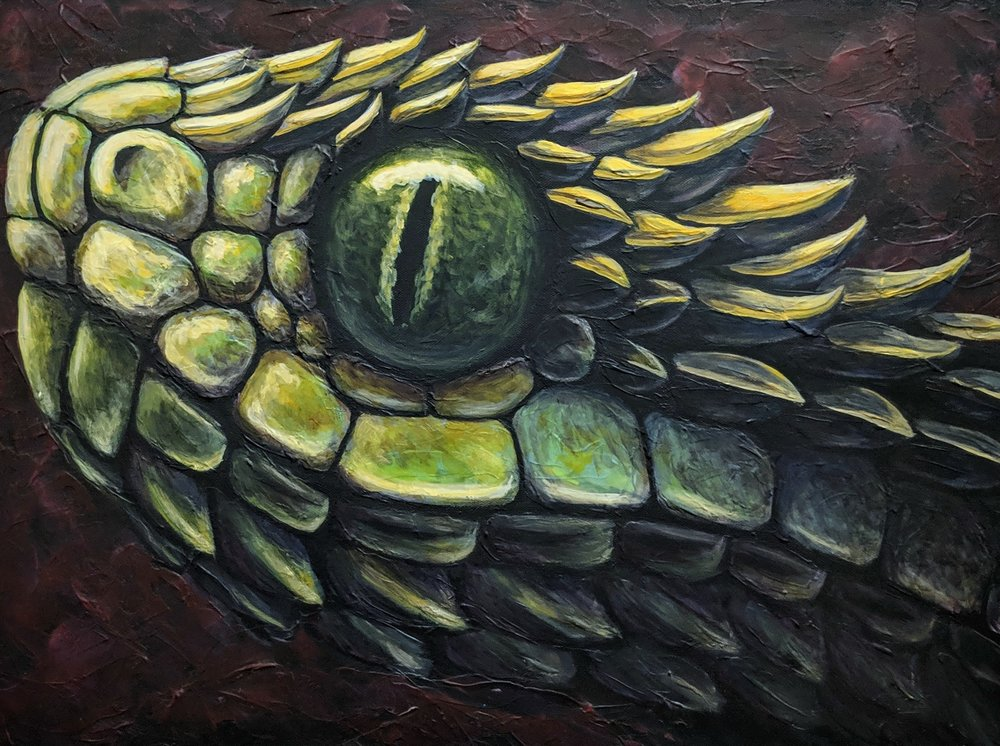 "Atheris hispida  Spiny Bush Viper Acrylic paint on 24""x18"" canvas"