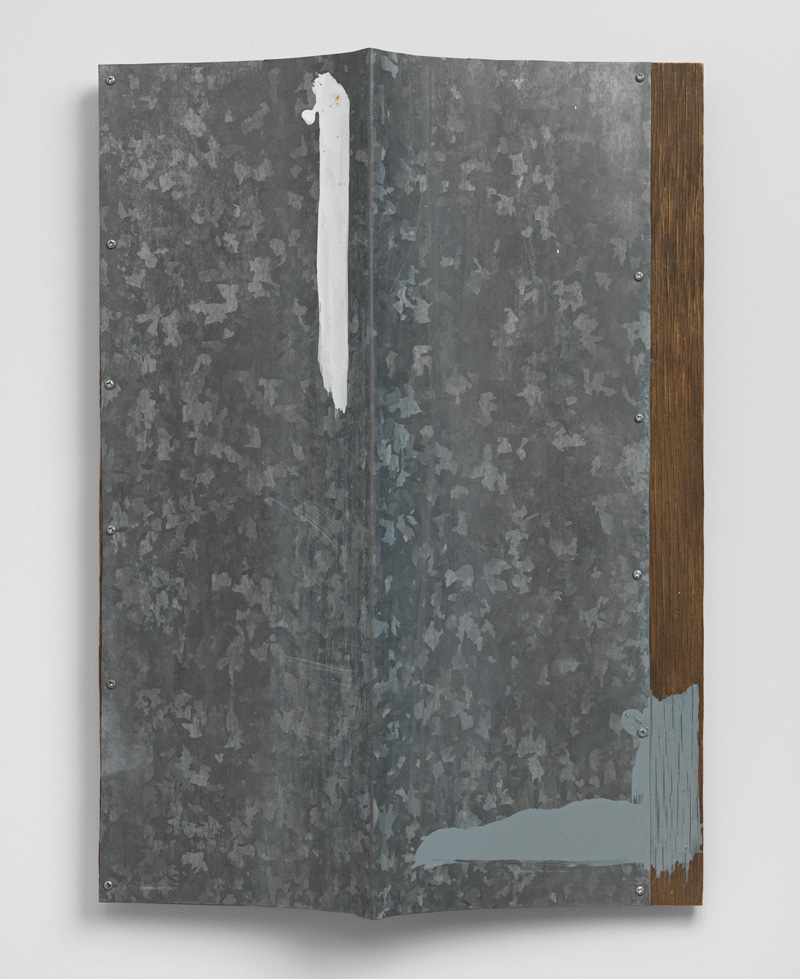 Edges of Perpendicular Space , 1990 垂空辺 ( Suikūhen ) Galvanized iron, plywood 19 3/4 x 14 1/4 x 2 1/2 inches 50.2 x 36.2 x 6.2 centimeters