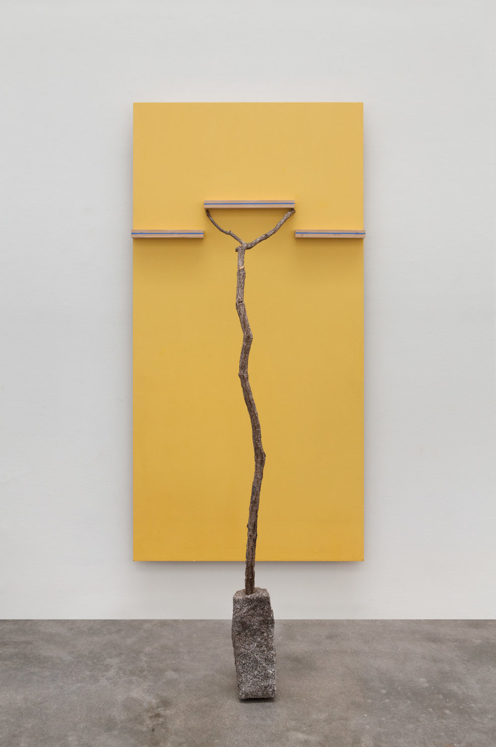 Placement of Unitary Situation , 2015 個景場化 ( Kokei Jōka)  Wood, paint, branch, stone 80 3/4 x 35 1/2 x 24 inches overall 205.1 x 90.2 x 61 centimeters overall