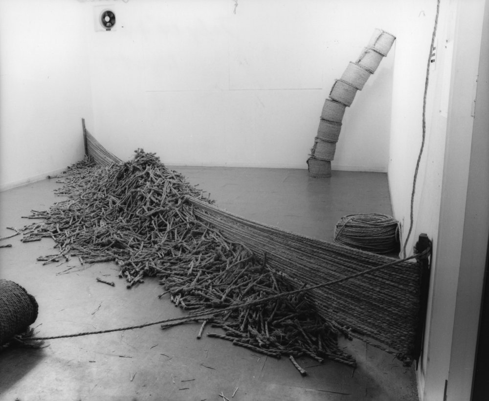 Fieldology , 1974 Straw rope Dimensions variable Installation view, Gallery 16, Kyoto, 1974. Photo: Shigeo Anzaï
