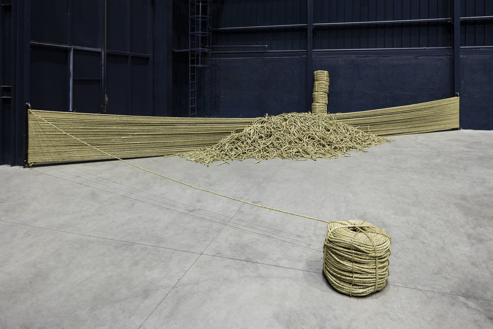 Fieldology , 1974/2016 Straw rope Dimensions variable Installation view,  Kishio Suga: Situations , Pirelli HangarBicocca, Milan, 2016 Photo: Agostino Osio; Courtesy Pirelli HangarBicocca, Milan