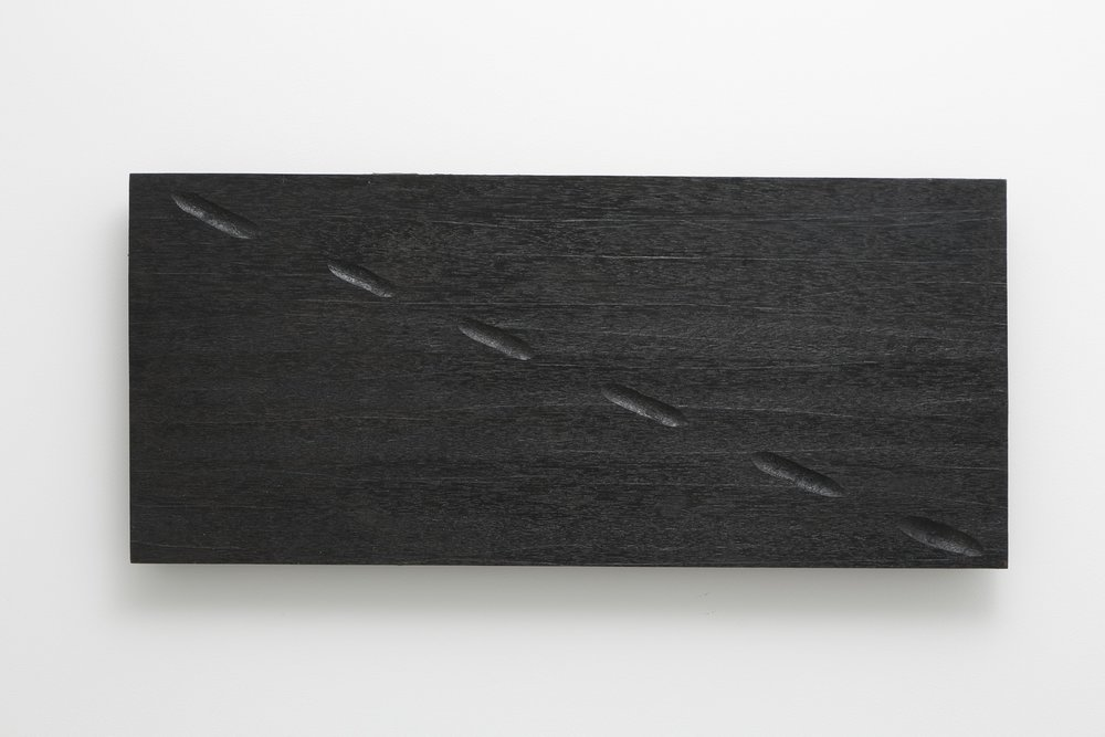 Diagonal Spaces , 1977 斜空 ( shakū ) Wood, paint, varnish 14 x 31 1/2 x 2 inches 35.6 x 80 x 5.1 centimeters
