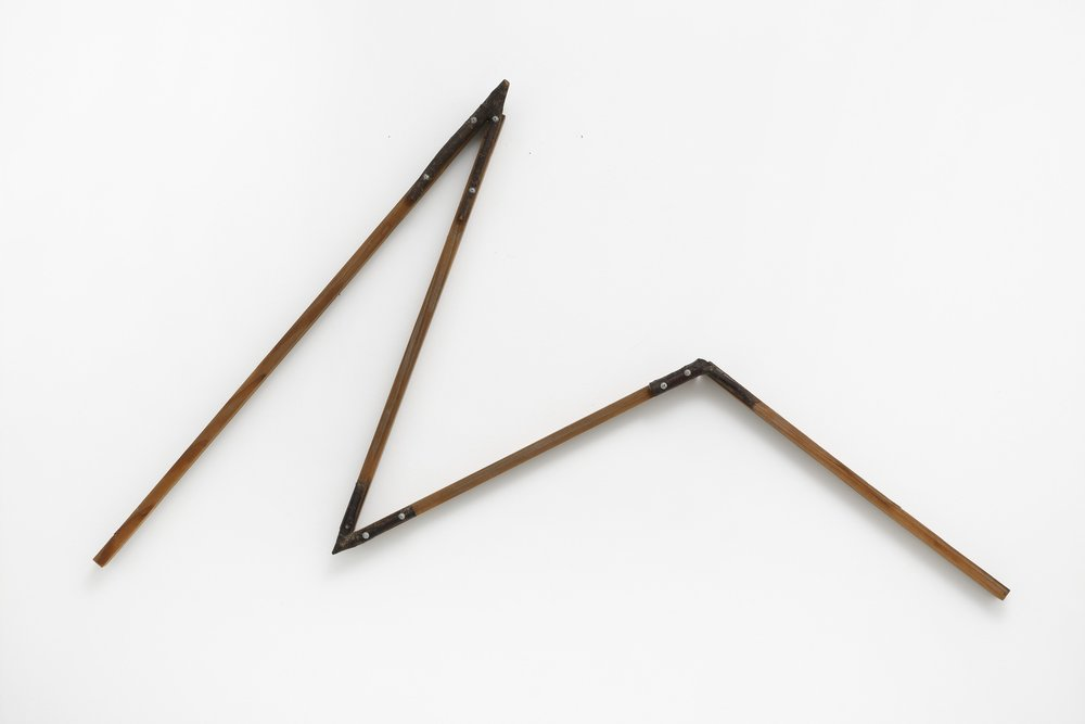 Crooked Positioning—Y , 1986 曲位—Y ( Kyokui—Y ) Wood, branches, screws 45 x 22 3/4 x 2 3/8 inches 114.3 x 57.8 x 6 centimeters