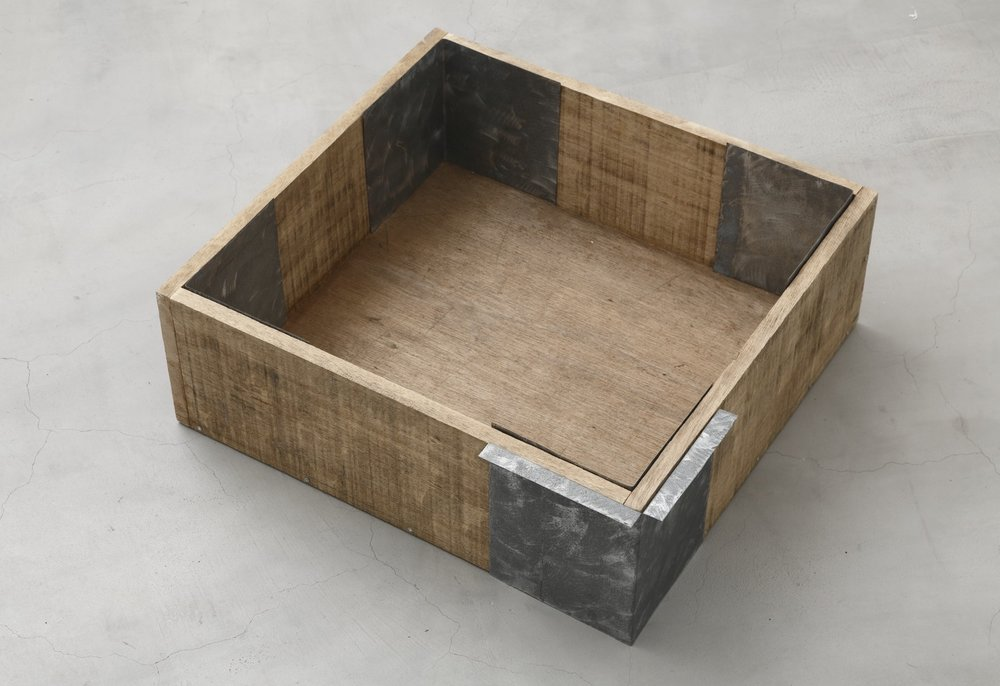 Elements of Perimeter,  1991 素周 ( Soshū ) Wood, zinc 21 x 19 3/4 x 7 1/2 inches 53.5 x 50 x 19 centimeters