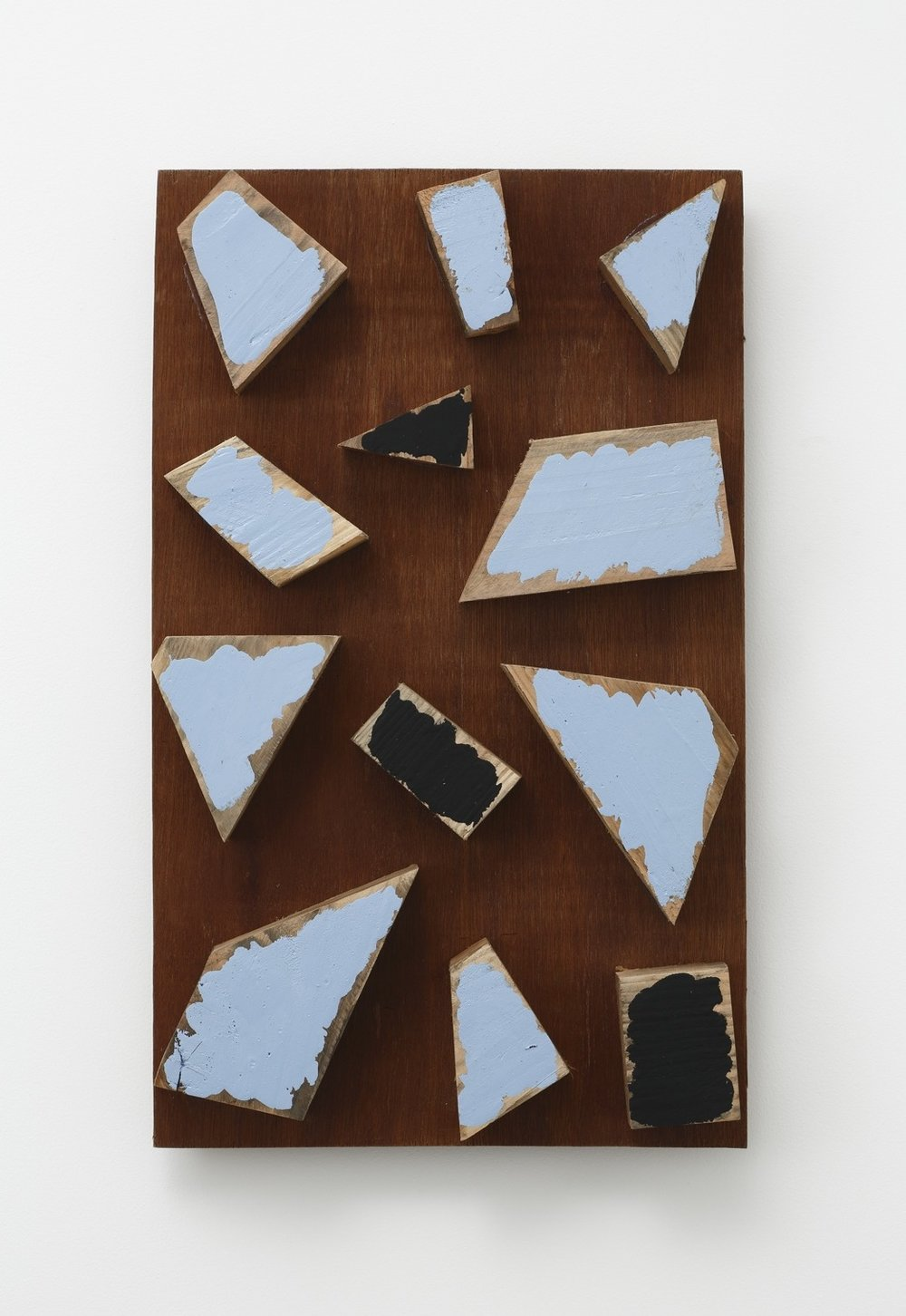 Scattered Existence , 1998 辺端景遠 ( Hentan Keien ) Plywood, water-based paint 22 5/8 x 13 5/8 x 3 3/16 inches  57.5 x 34.5 x 8 centimeters