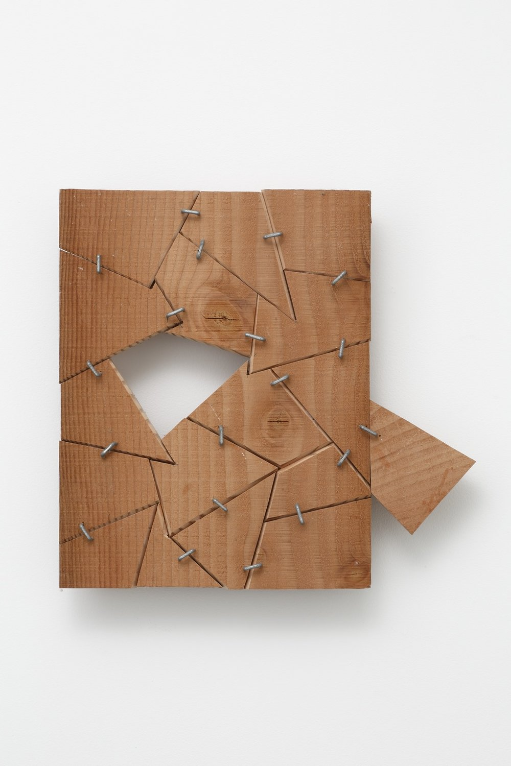Shifting Accumulation , 2015 移集 ( ishū ) Wood, metal staples 14 1/4 x 14 7/8 x 2 1/4 inches 36.2 x 37.8 x 5.7 centimeters