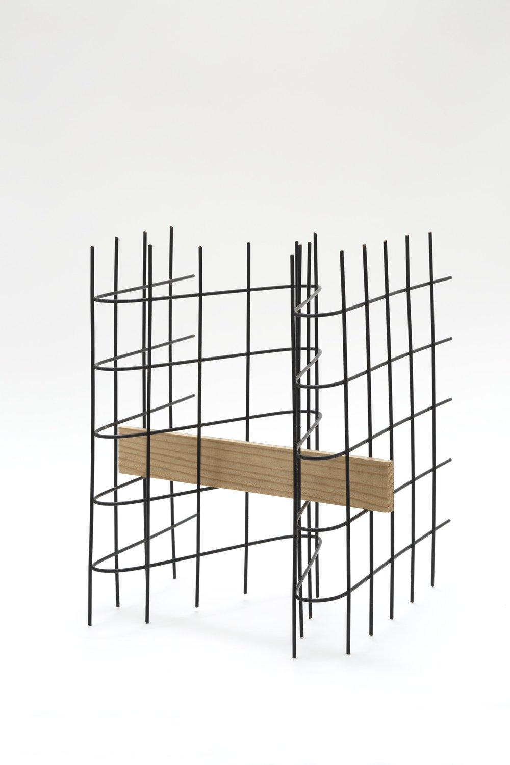 Formation of Multiple Existences , 2006 Plastic-coated wire mesh, wood 11 1/4 x 9 13/16 x 11 inches  28.5 x 24.9 x 28 centimeters